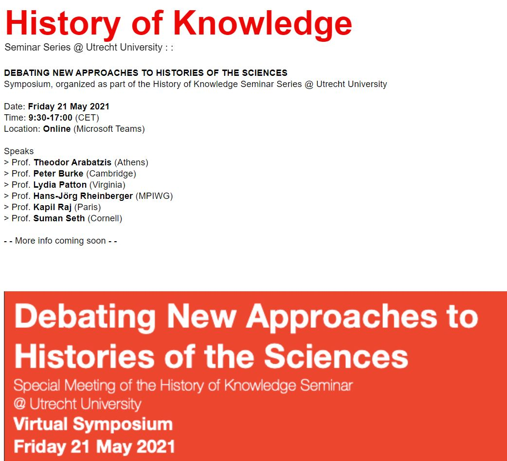 Debating New Approaches to Histories of the Sciences, 21 May 2021